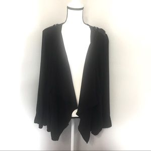 Torrid open front draped cardigan w/faux leather